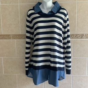 Faded Glory Striped and Chambray twofer top